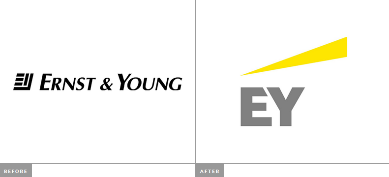 Ernst & Young - EY Rebrand Fail - Before & After Logos